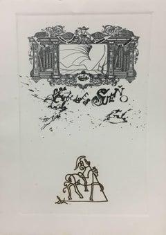 LA VIDA ES SUEÑO: title plate engraving painting