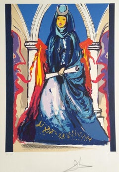 LADY BLUE(THE HIGH PRIESTESS) 1979 Signed Lithograph, Tarot Card Series