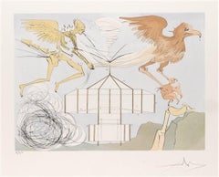 L'Aéroplane (The Aeroplane), Hand-signed limited edition surrealist lithograph