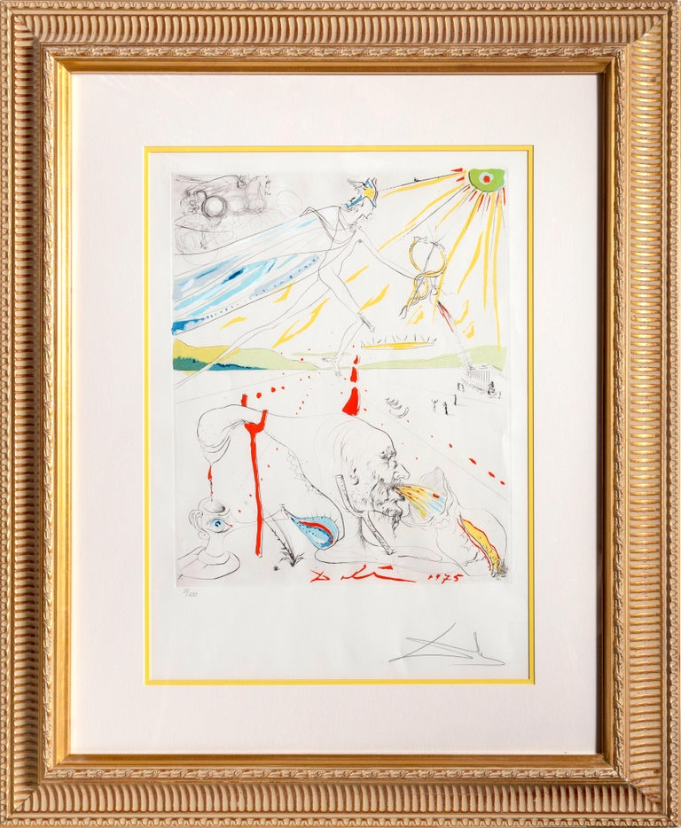 Artist:Salvador Dali Title:L'Alchimiste Year:1975 Medium: Hand-colored etching on Arches paper, signed and numbered in pencil  Edition: 31/250 Image Size: 20.5 x 16.5 inches Paper Size: 29.5 x 22.5 inches Frame Size: 41 x 33.5 inches Reference: