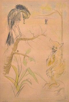 Le Bestiaire de la Fontaine Dalinisé - Original Etching by S. Dali - 1974
