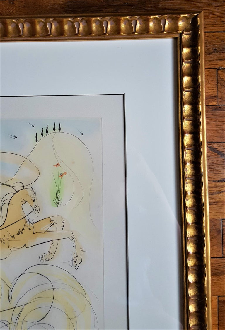 An original signed drypoint etching with pochoir on Richard de Bas Auvergne wove paper by Spanish artist Salvador Dali (1904-1989) titled