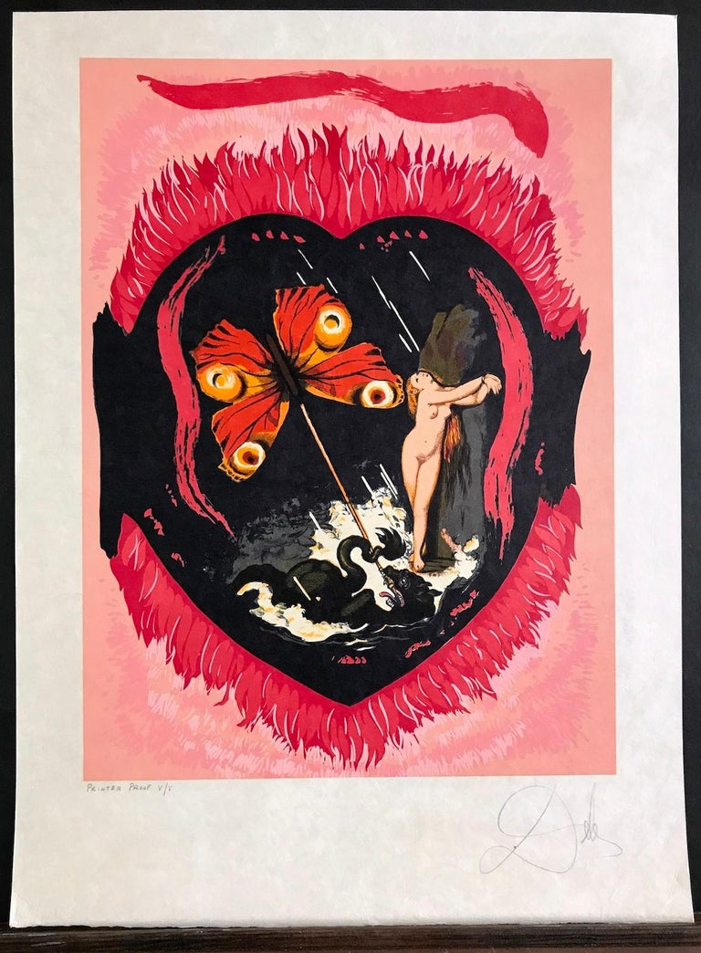 Le Triomphe(Three Of Swords) L'Amour Suite, Signed Lithograph on Japon Paper - Surrealist Print by Salvador Dalí