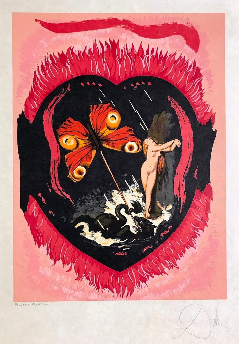 Le Triomphe(Three Of Swords) L'Amour Suite, Signed Lithograph on Japon Paper - Pink Nude Print by Salvador Dalí