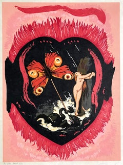 Le Triomphe(Three Of Swords) L'Amour Suite, Signed Lithograph on Japon Paper