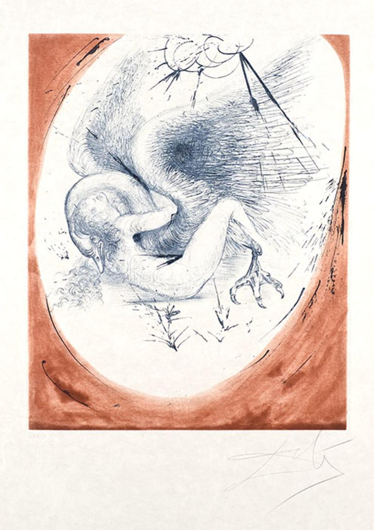Salvador Dalí Figurative Print - Leda and the Swan