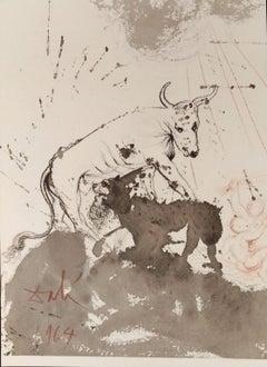 Leo quasi Bos Comedens Paleas -Original Lithograph by S. Dalì - 1964