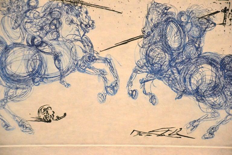 Les Cavaliers Bleus - Original Etching by S. Dali - 1969 - Print by Salvador Dalí