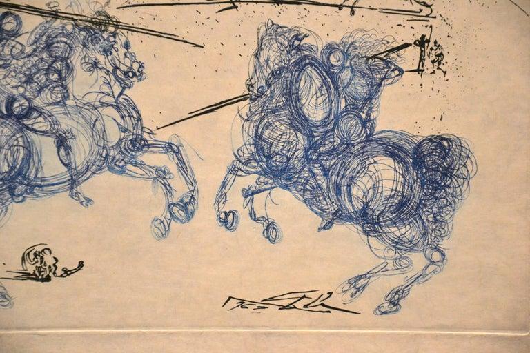 Les Cavaliers Bleus - Original Etching by S. Dali - 1969 - Surrealist Print by Salvador Dalí