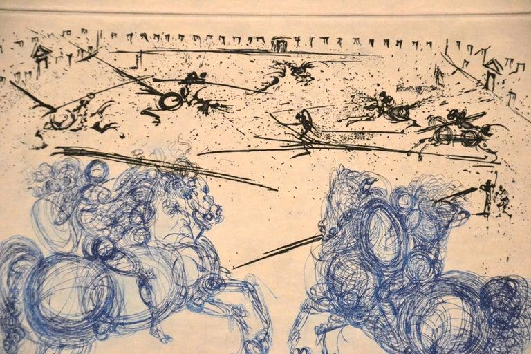 Les Cavaliers Bleus - Original Etching by S. Dali - 1969 - Beige Print by Salvador Dalí
