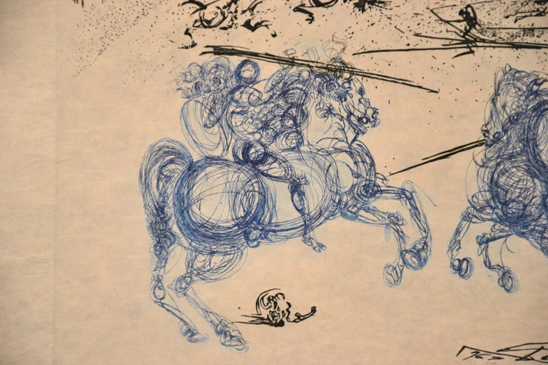 Les Cavaliers Bleus is an original color etching on Japon paper, realized in 1969 by the Catalan Surrealist artist Salvador Dalí.  Signed on plate on the lower right margin. Image dimensions: 22x33 cm.  Perfect condition.  References: Catalogue