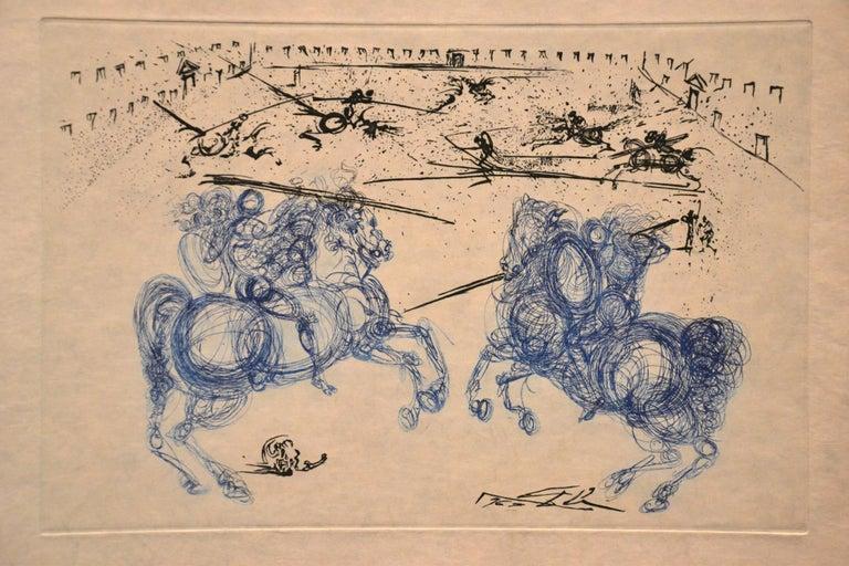 Les Cavaliers Bleus - Original Etching by S. Dali - 1969 1