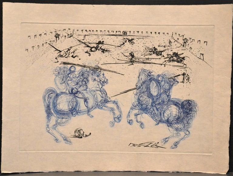 Les Cavaliers Bleus - Original Etching by S. Dali - 1969 2