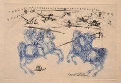 Les Cavaliers Bleus - Original Etching by S. Dali - 1969