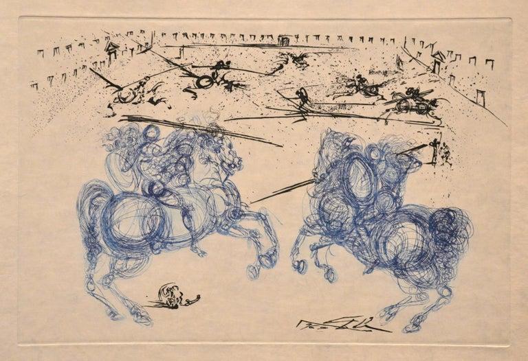 Salvador Dalí Print - Les Cavaliers Bleus - Original Etching by S. Dali - 1969