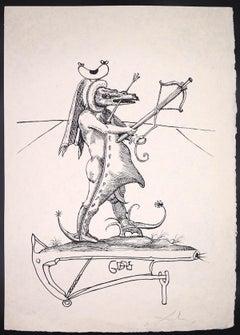 Les Songes Drôlatiques de Pantagruel: Crocodile - Lithograph by S. Dalì - 1973