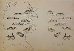 L'homme ressuscité par l'holographie de l'écureuil - Original etching - 1973