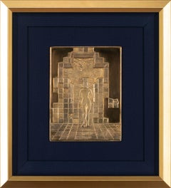 """Lincoln In Dalivision"" 18k Gold Pl./Sterling Framed Bas Relief by Salvador Dalí"