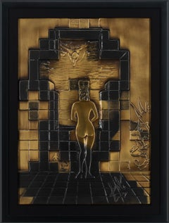 """Lincoln In Dalivision"" [Bronze] Bas Relief Sculpture by Salvador Dalí, Framed"