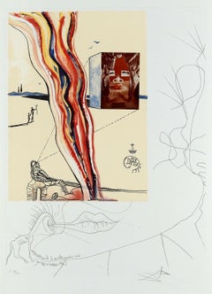 Liquid & Gaseous Television Limited Edition Lithograph & Collage Salvador Dali