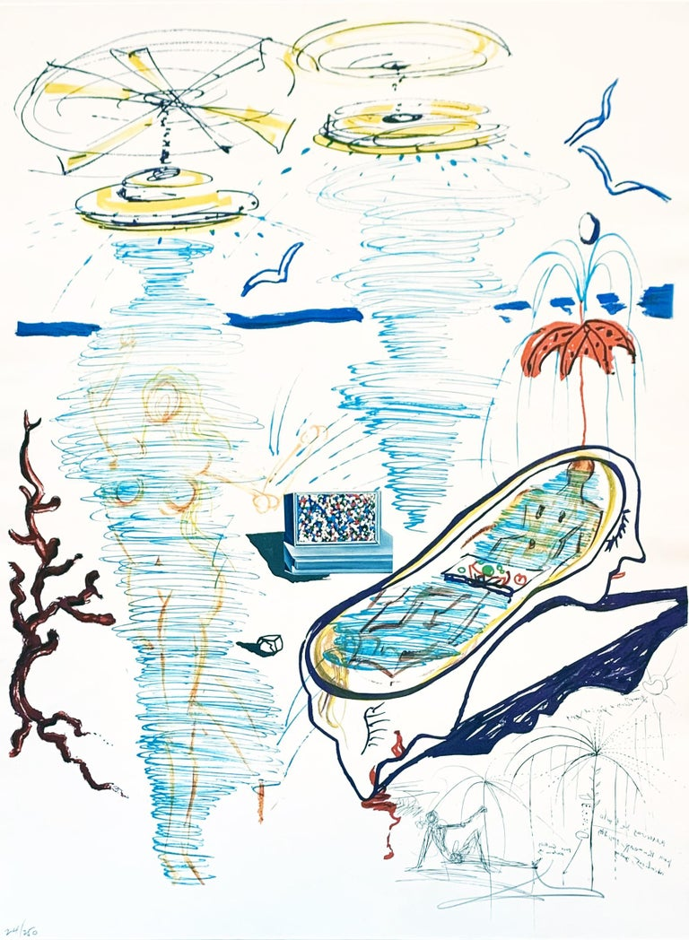 Salvador Dalí Landscape Print - Liquid Tornado Bathtub
