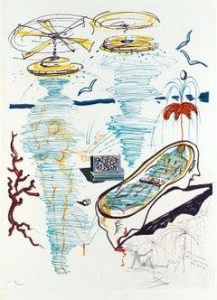 Liquid Tornado Bathtub, Limited Edition Lithograph & Collage, Salvador Dali