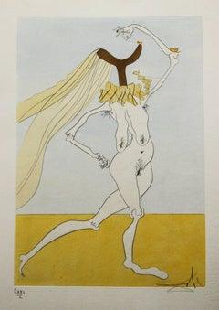 Nude with Veils ( Nu aux Voilettes) Salvador Dali Original Engraving 1975