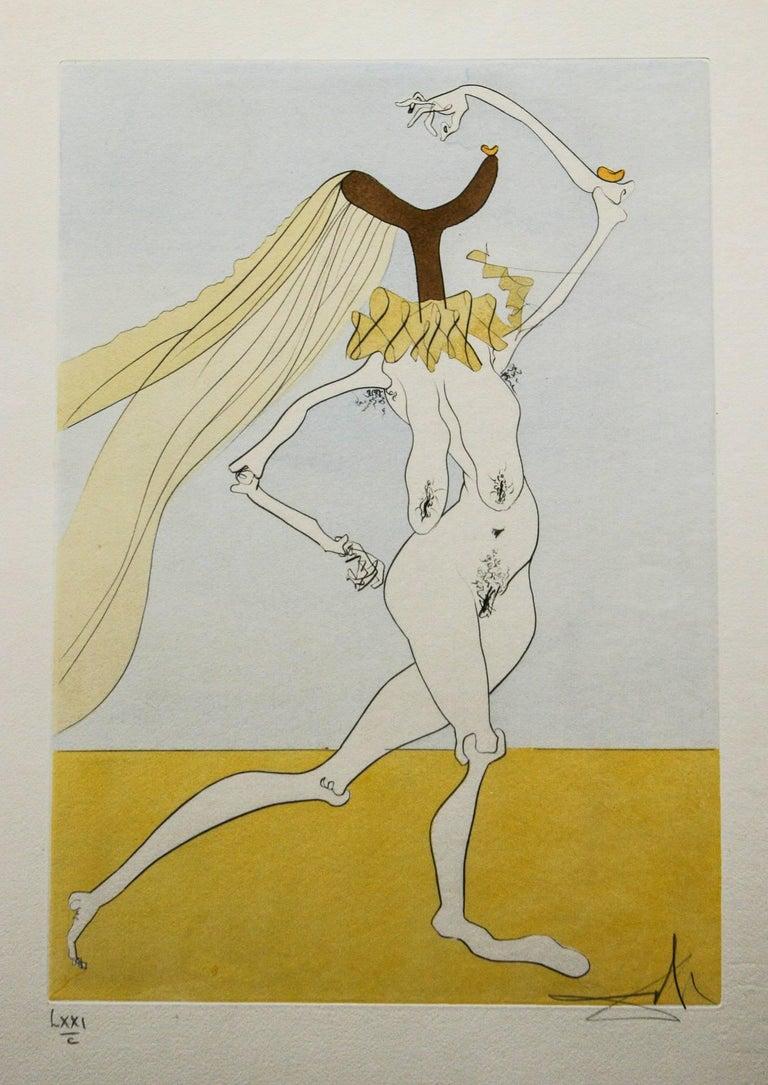 Salvador Dalí Abstract Print - Nude with Veils ( Nu aux Voilettes) Salvador Dali Original Engraving 1975