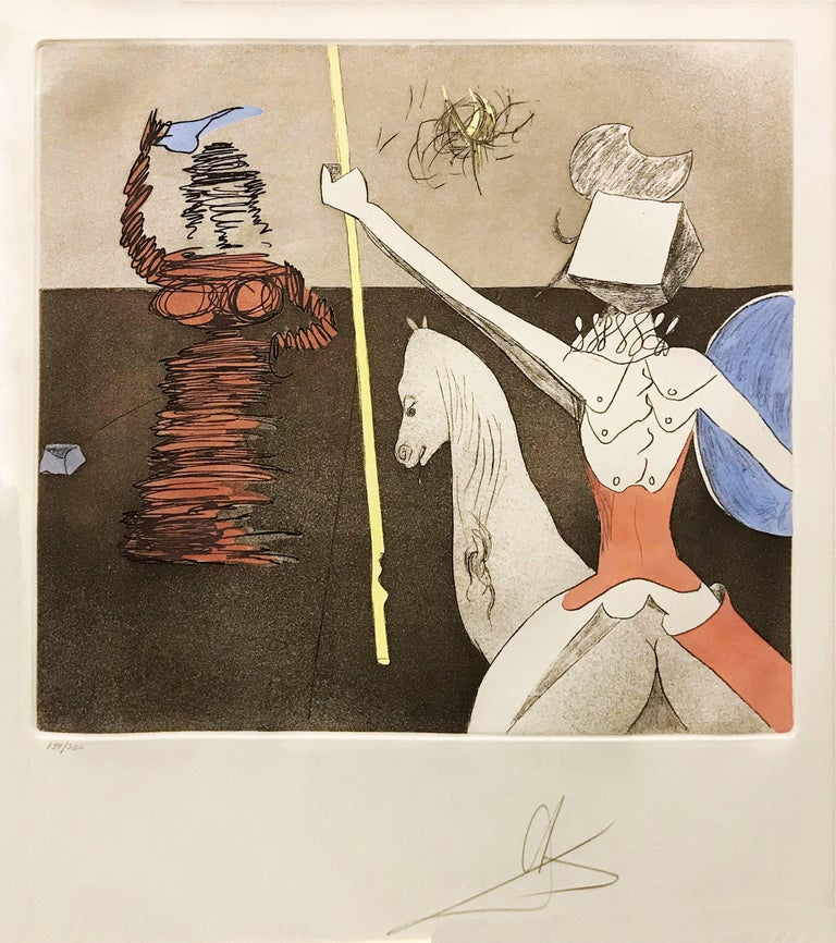 Salvador Dalí Figurative Print - OFF TO BATTLE