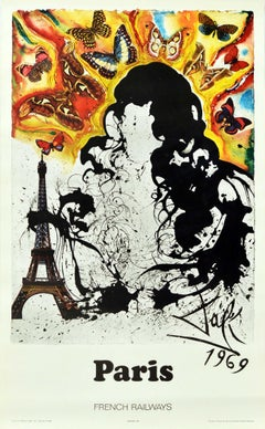 Original Vintage Railway Poster Paris By Dali For SNCF Tour Eiffel Abstract Art