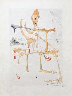 Paysage avec Squelette (Landscape w/Skeleton) Limited Edition Engraving, S. Dali
