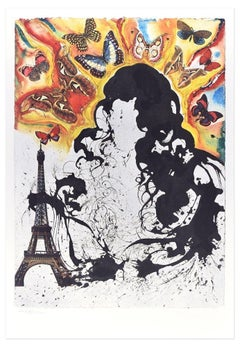 """Plate I - From """"Suite Papillon"""" - Original Lithograph and Heliogravure - 1969"""