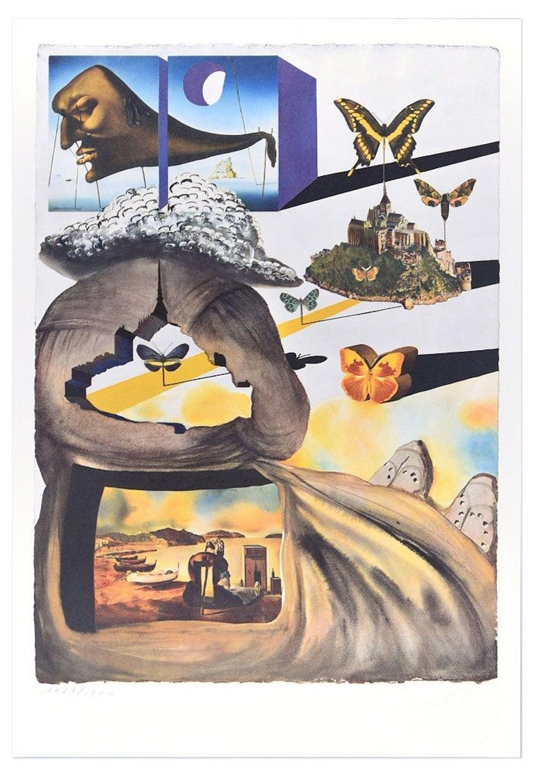 """Salvador Dalí Print - Plate II - From """"Suite Papillon"""" - Original Lithograph and Heliogravure - 1969"""