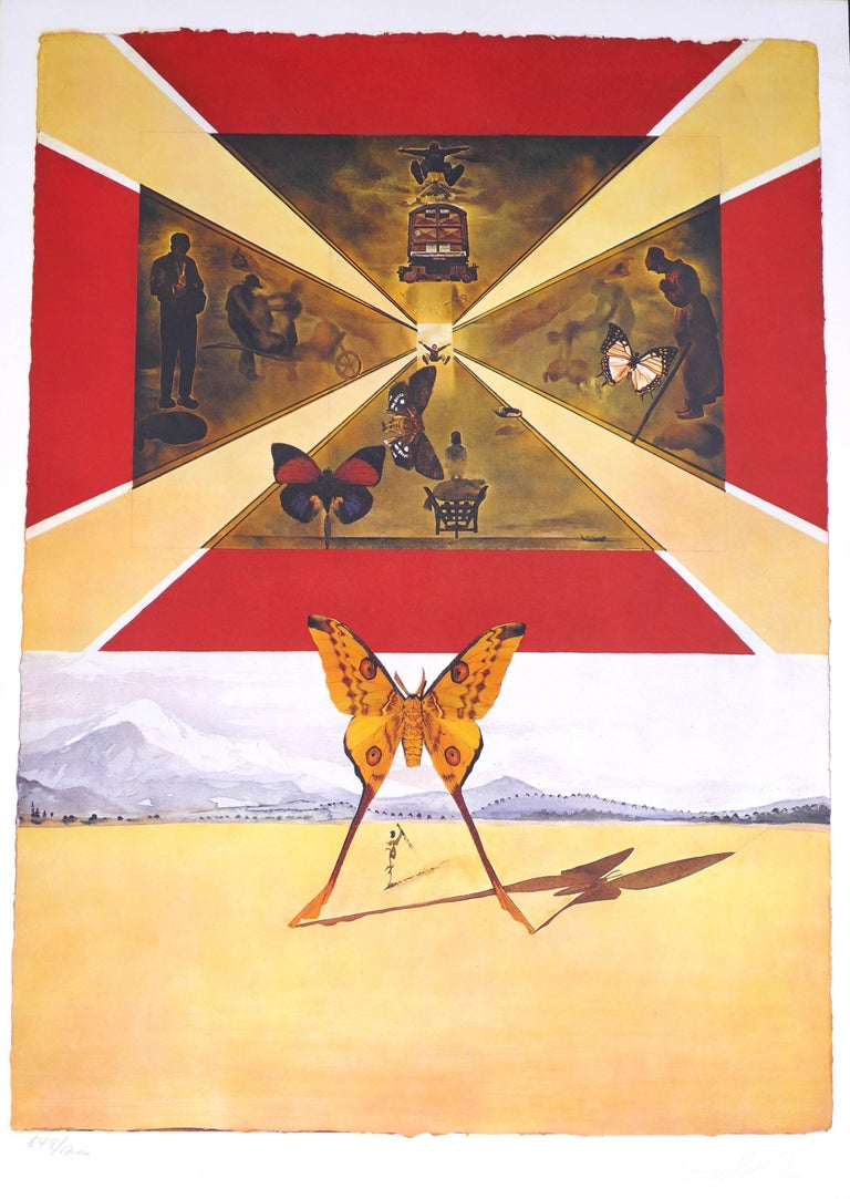 """Salvador Dalí Print - Plate V - From """"Suite Papillon"""" - Original Lithograph and Heliogravure - 1969"""