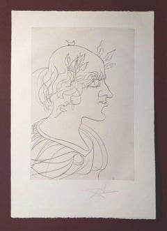Retrato a Francesc Pujols  Original engraving painting-1959