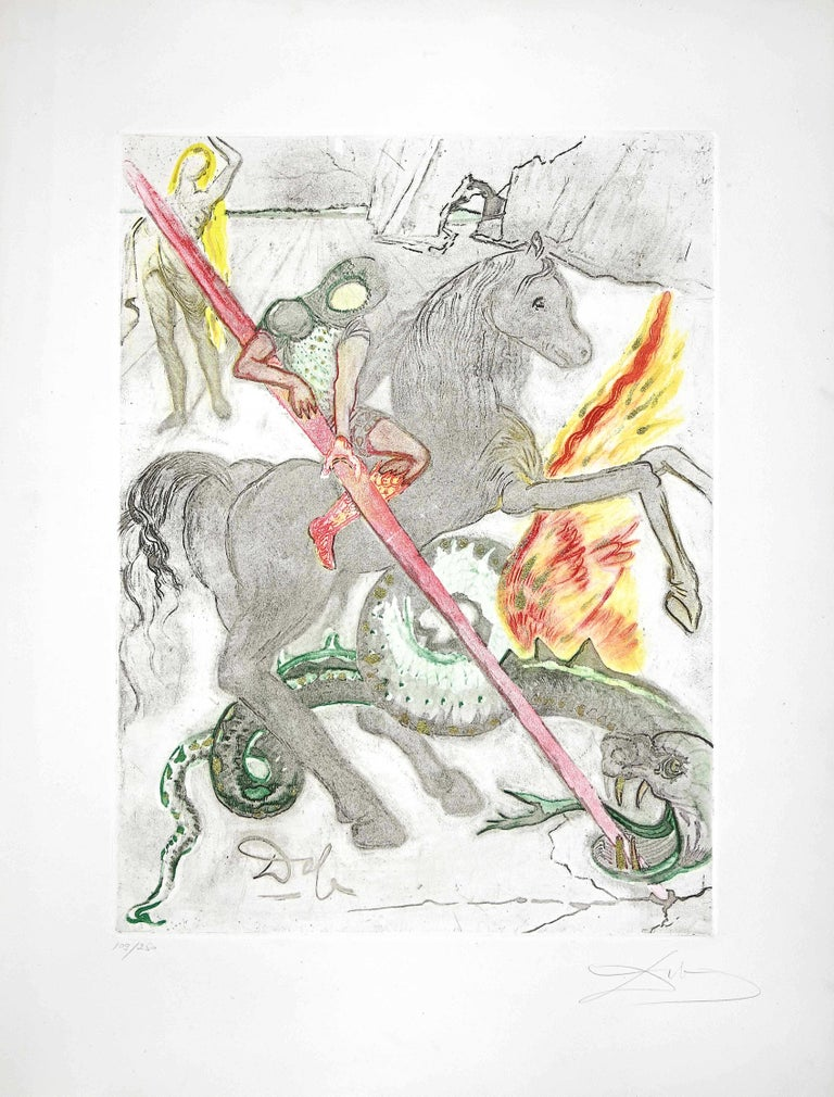 Salvador Dalí Print - Saint George and the Dragon - Original Etching and Aquatint by S. Dalì - 1978