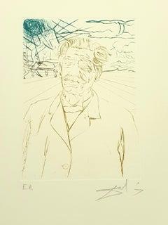 Salvador Dali - Albert Schweitzer - Original Handsigned Engraving