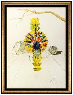 Salvador Dali American Clock Time Hand Signed Color Lithograph Surreal Artwork