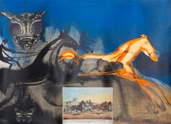 Salvador Dali, American Trotting Horses No. 2, Lithograph with collage