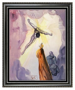 Salvador Dali Apparition Christ Cross Glazed Ceramic Signed Surrealism Artwork