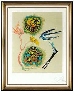 Salvador Dali Apparition Of The Rose Hand Signed Color Lithograph Surreal Art
