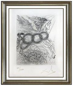 Salvador Dali Authentic Etching Pegasus Horse Hand Signed Mythology Surreal Art