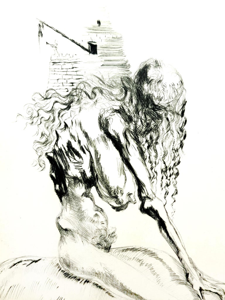 Salvador Dali - Baubo (Woman Riding a Sow), from Faust - Original Etching - Surrealist Print by Salvador Dalí