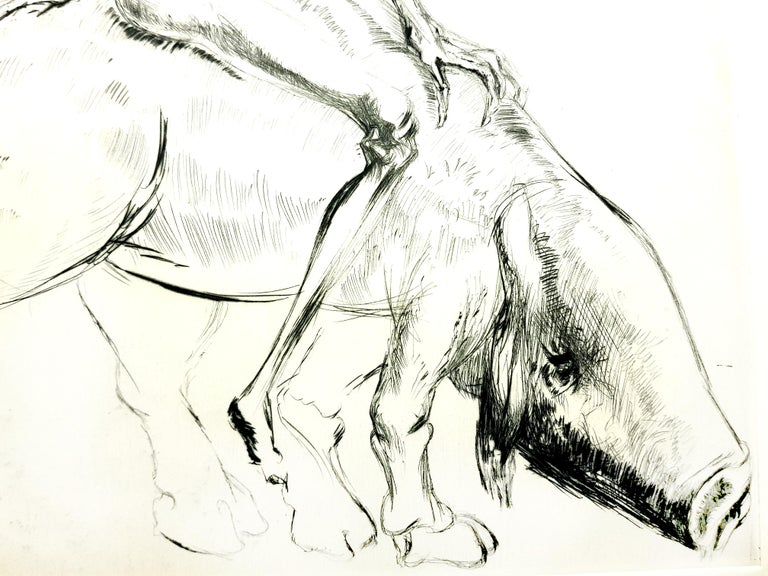 Salvador Dali - Baubo (Woman Riding a Sow), from Faust - Original Etching For Sale 2