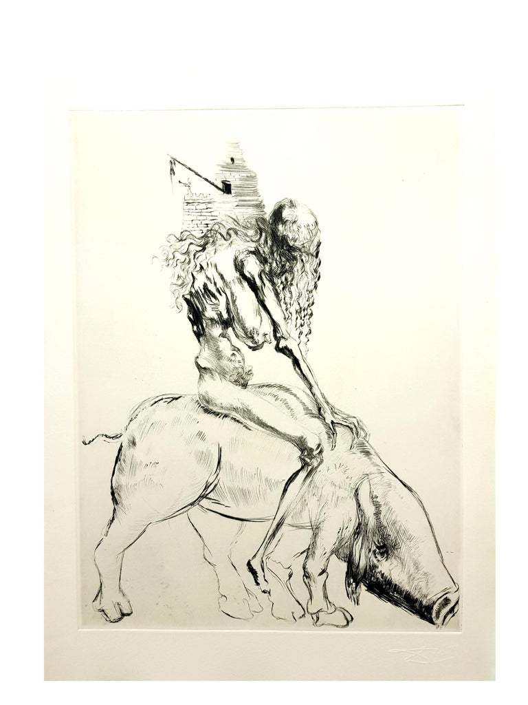 Salvador Dali - Baubo (Woman Riding a Sow), from Faust - Original Etching For Sale 3