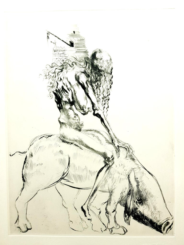 Salvador Dali - Baubo (Woman Riding a Sow), from Faust - Original Etching