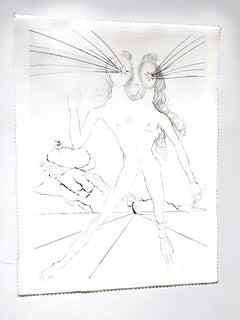 Salvador Dali - Bicephale - Original Etching on Silk