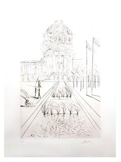 Salvador Dali - City Hall - San Francisco - Original Hand-Signed Etching