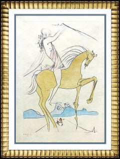 Salvador Dali Color Etching Hand Signed Authentic Horse Amazone Art Field 73-17A