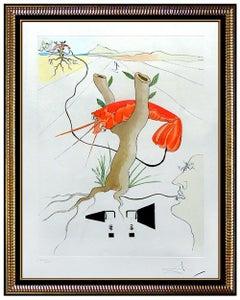 Salvador Dali Color Etching Hand Signed Lobster Telephone Da Vinci Artwork Rare